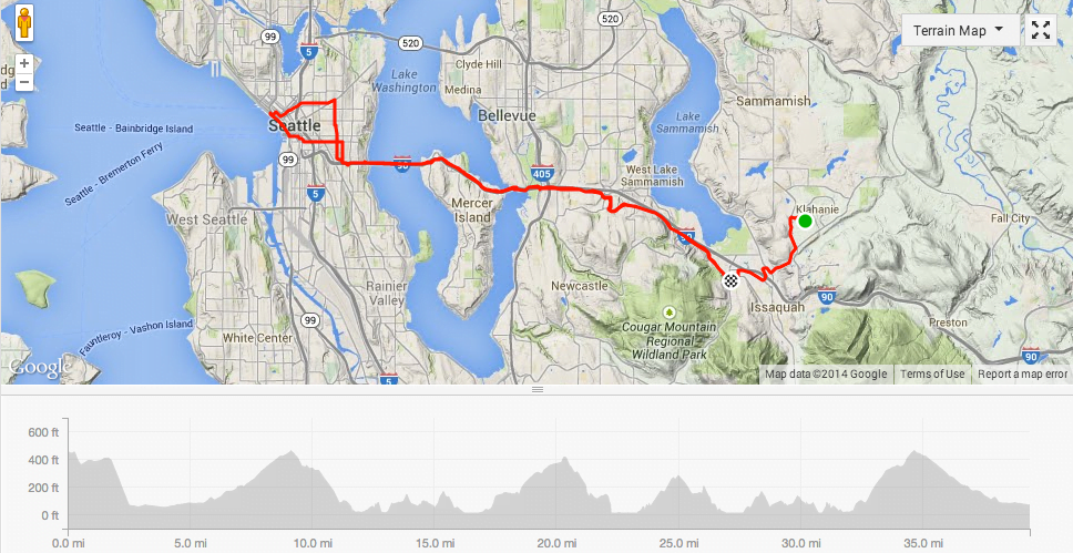 A typical round-trip commute.  Because of various construction projects (e.g., Elliott Bay Seawall), I try to avoid the ferry area in the morning by looping through Capitol Hill.